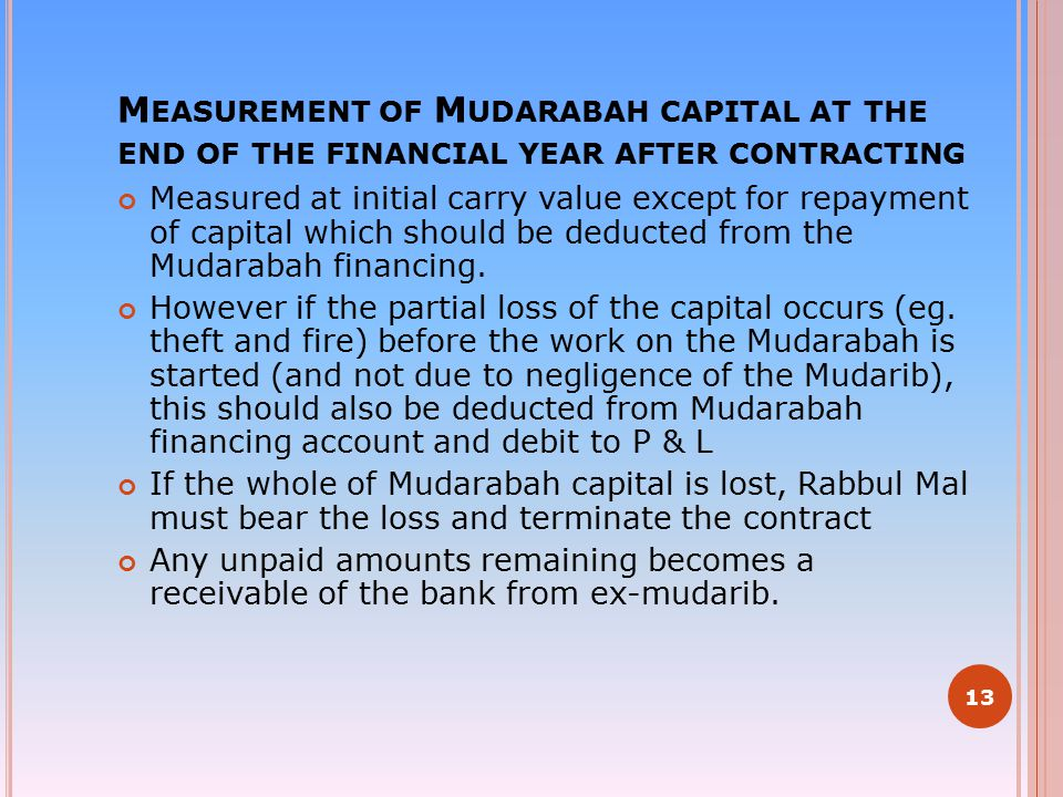 M EASUREMENT OF M UDARABAH CAPITAL AT THE END OF THE FINANCIAL YEAR AFTER CONTRACTING Measured at initial carry value except for repayment of capital