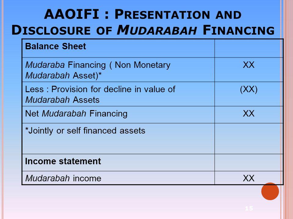 AAOIFI : P RESENTATION AND D ISCLOSURE OF M UDARABAH F INANCING Balance Sheet Mudaraba Financing ( Non Monetary Mudarabah Asset)* XX Less : Provision