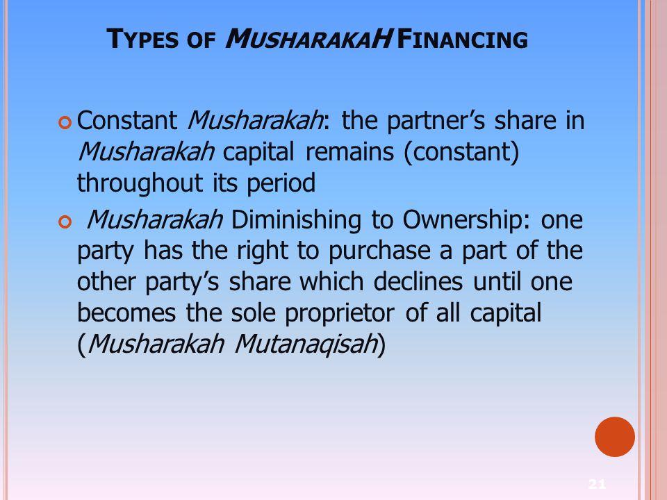 21 T YPES OF M USHARAKA H F INANCING Constant Musharakah: the partner's share in Musharakah capital remains (constant) throughout its period Musharaka