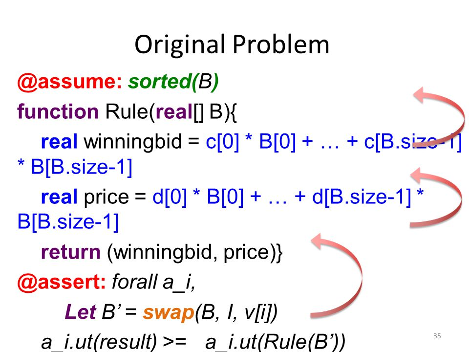 Original Problem @assume: sorted(B) function Rule(real[] B){ real winningbid = c[0] * B[0] + … + c[B.size-1] * B[B.size-1] real price = d[0] * B[0] + … + d[B.size-1] * B[B.size-1] return (winningbid, price)} @assert: forall a_i, Let B' = swap(B, I, v[i]) a_i.ut(result) >= a_i.ut(Rule(B')) 35