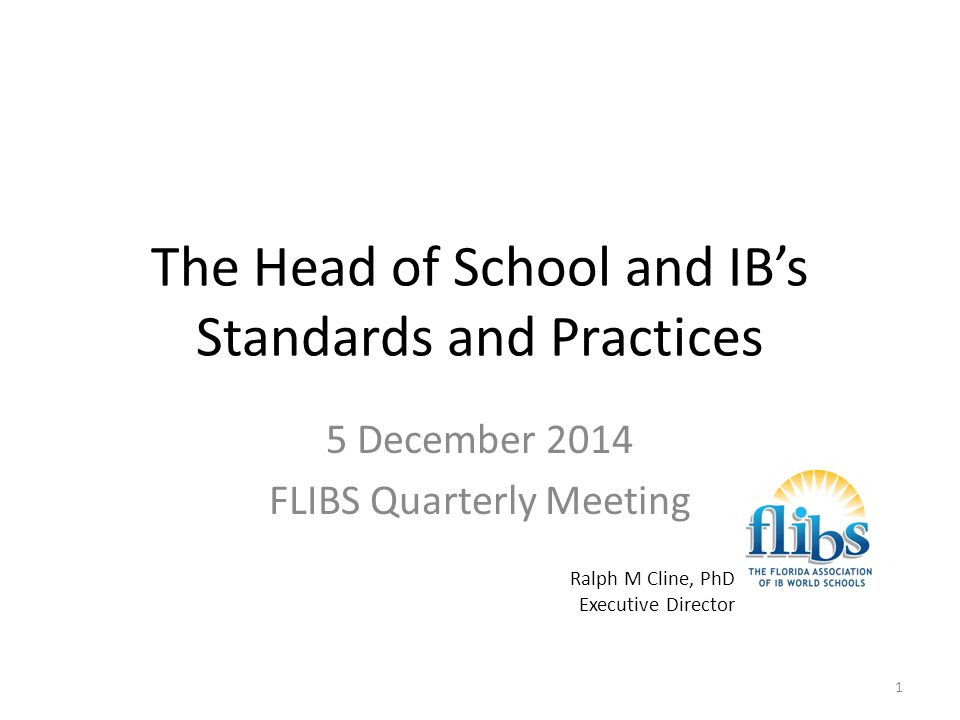 THE FLORIDA ASSOCIATION OF IB WORLD SCHOOLS Standard C1: Collaborative planning Collaborative planning and reflection supports the implementation of the IB programme(s).