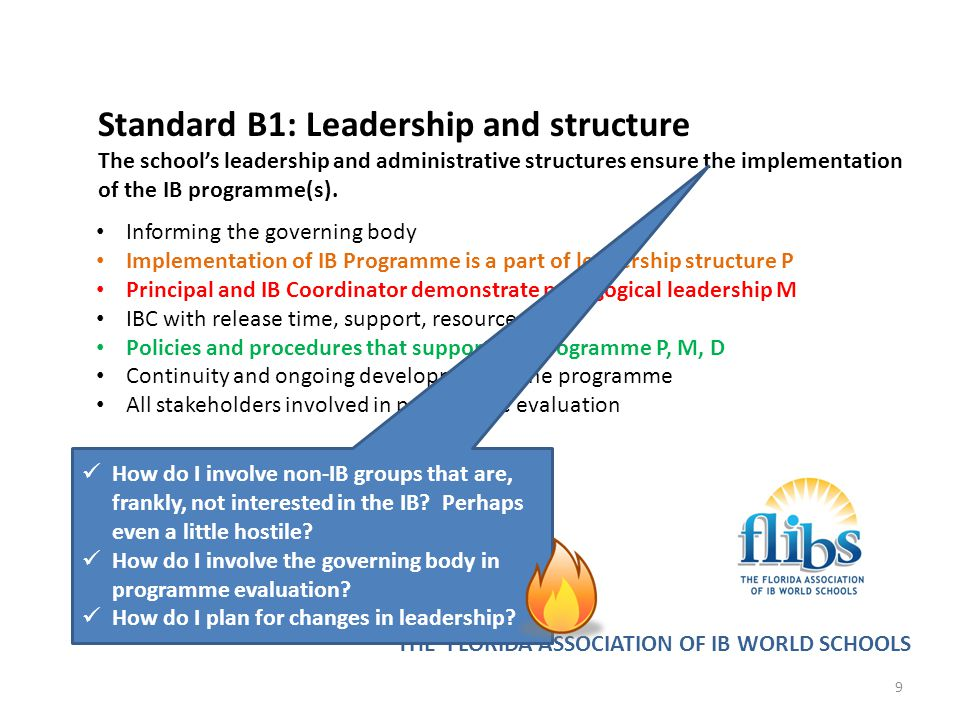 THE FLORIDA ASSOCIATION OF IB WORLD SCHOOLS Standard B2: Resources and support The school's resources and support structures ensure the implementation of the IB programme(s).