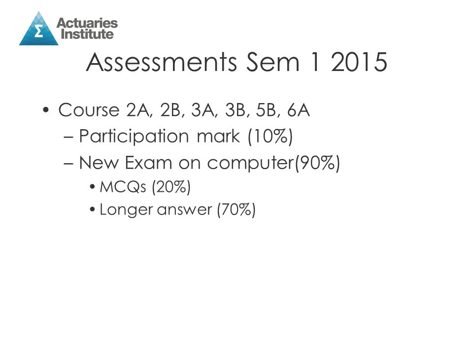 Assessments Sem 1 2015 Course 2A, 2B, 3A, 3B, 5B, 6A –Participation mark (10%) –New Exam on computer(90%) MCQs (20%) Longer answer (70%)