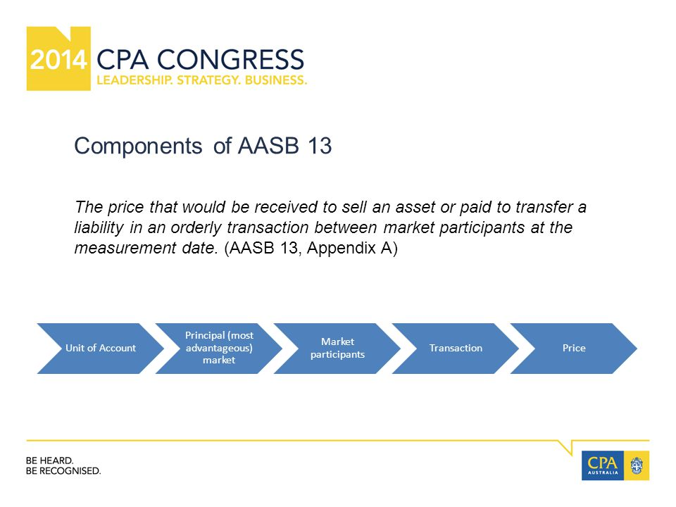 Components of AASB 13 Unit of Account Principal (most advantageous) market Market participants TransactionPrice The price that would be received to sell an asset or paid to transfer a liability in an orderly transaction between market participants at the measurement date.