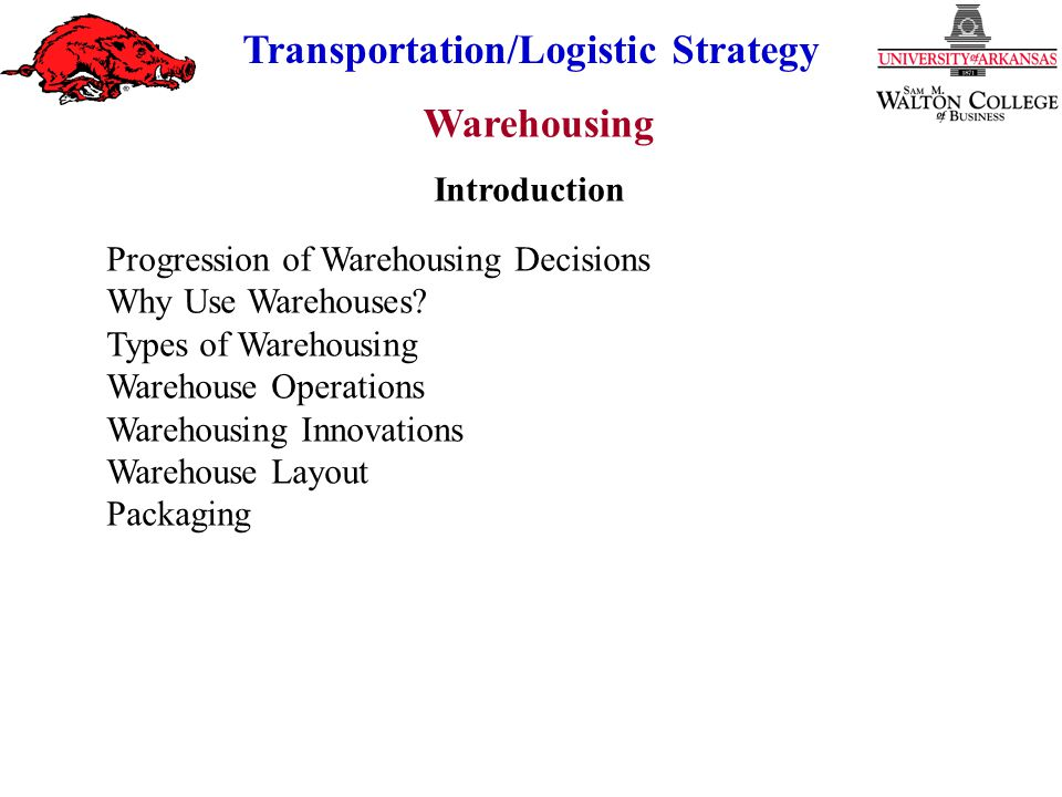 Warehousing Transportation/Logistic Strategy Lack of Control Difficult Communications Not Always Available Potentially Higher Cost Disadvantages of Public Warehouses