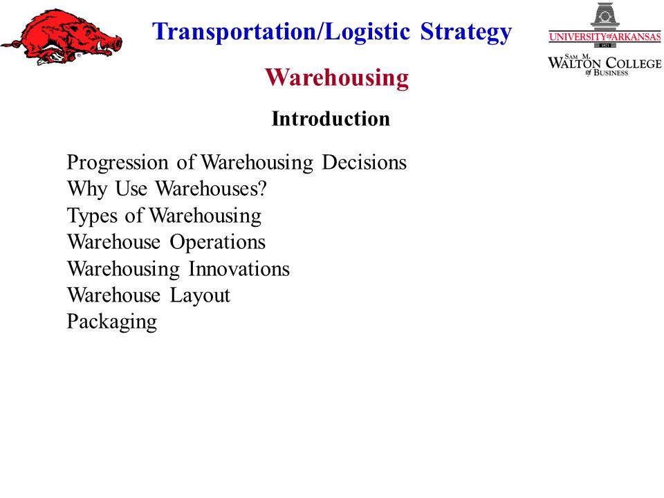 Warehousing Transportation/Logistic Strategy Progression of Warehousing Decisions.