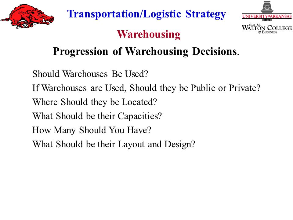 Warehousing Transportation/Logistic Strategy Why Use Warehouses.