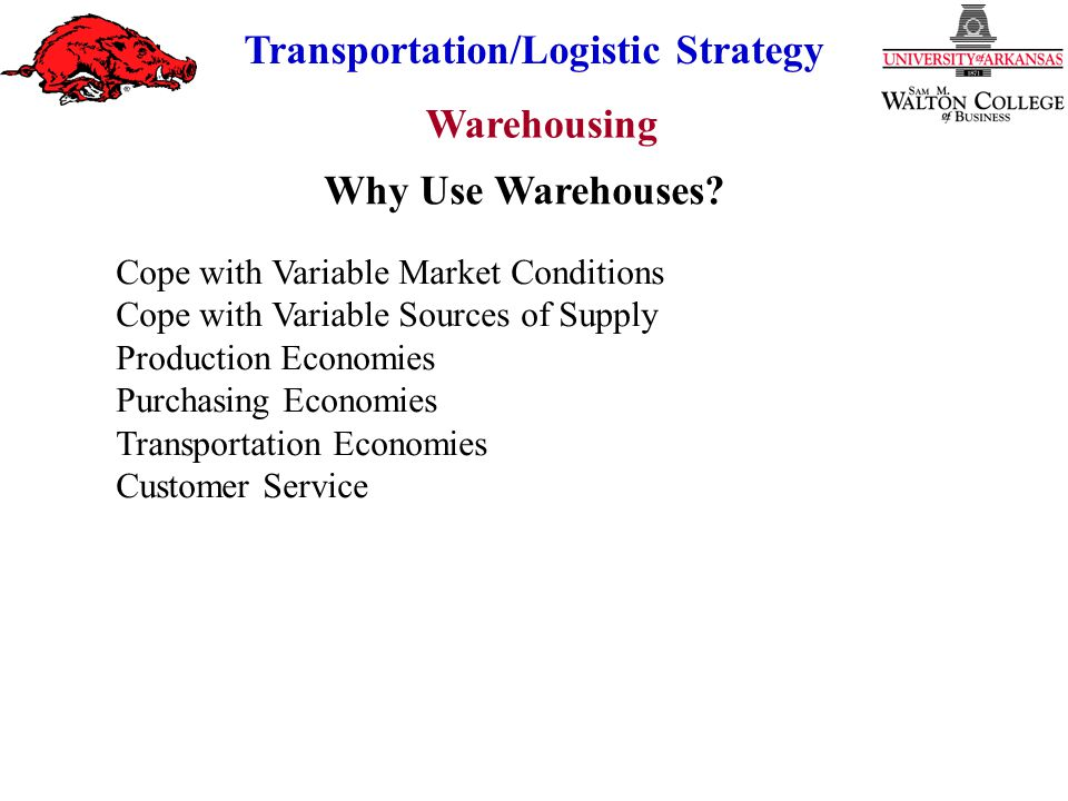 Warehousing Transportation/Logistic Strategy Private vs Public Warehousing (With Cost of Capital) $ Public (All Variable Cost) Private (Fixed + Variable Cost) Volume Indifferent Prefer Private Prefer Public Savings