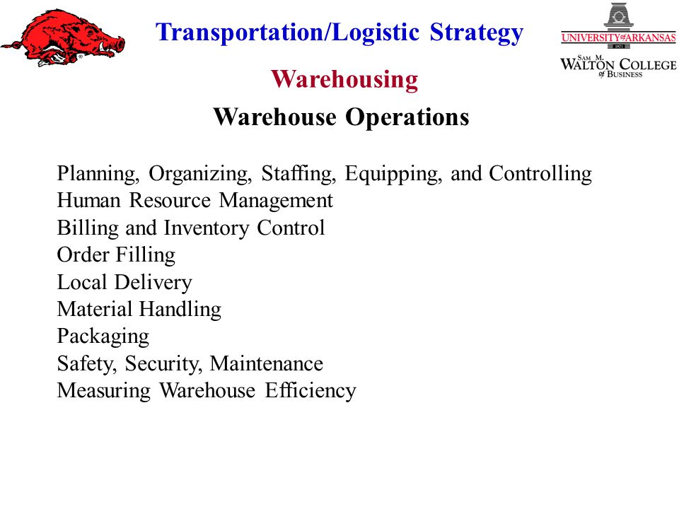 Warehousing Transportation/Logistic Strategy Private = Fixed Costs + Variable Costs Public = Variable Costs Example: Private Fixed Costs = $500,000/year Private Variable Costs = $0.15/pound Public Variable Costs = $0.25/pound Indifference point is where savings = desired ROI Indifference Point Between Public and Private (With Cost of Capital) Savings Average Investment = ROI