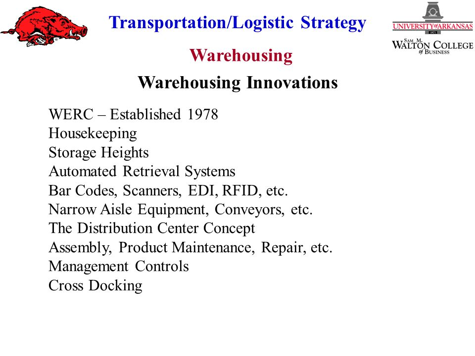Warehousing Transportation/Logistic Strategy Costs of Increasing Storage Heights $ H1 Storage Height Construction & Finance Total Cost Labor & Insurance C1