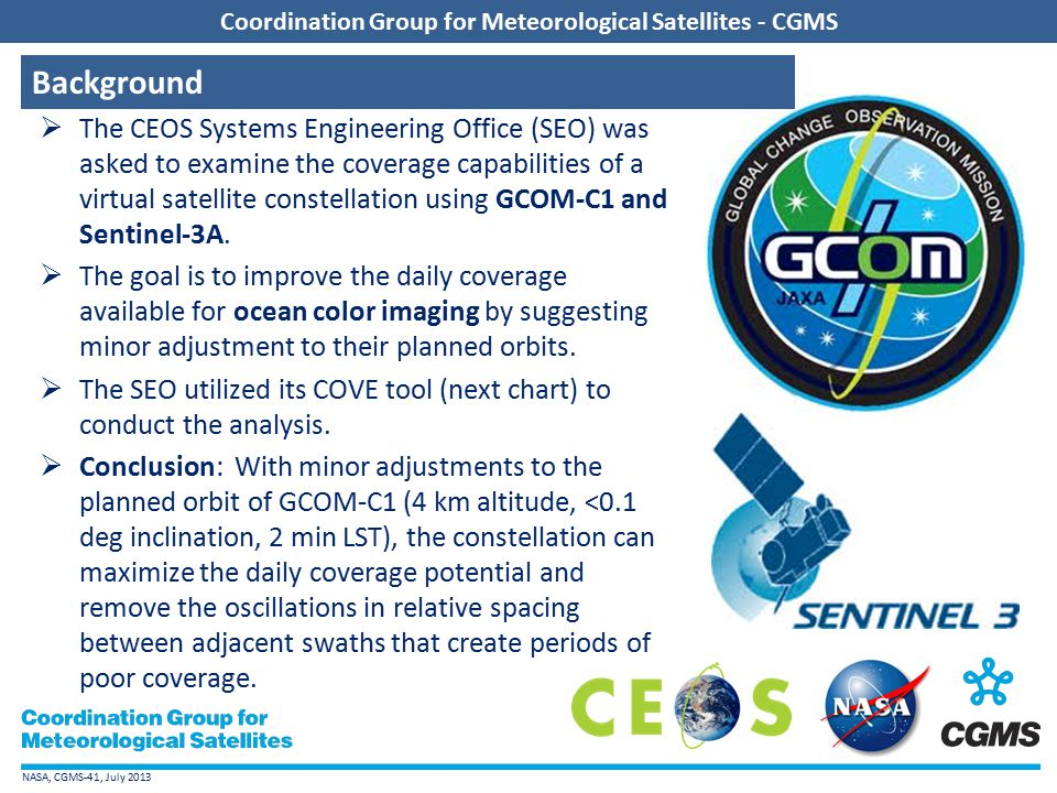 NASA, CGMS-41, July 2013 Coordination Group for Meteorological Satellites - CGMS  Browser-based tool using Google-Earth to display satellite coverage swaths and calculate coincidence scene locations.