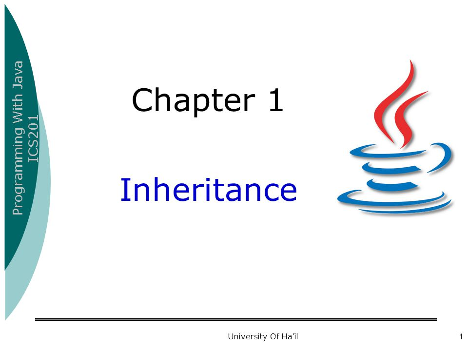 Programming With Java ICS201 University Of Ha'il12 Example (Inheritance and variables) class C1 { static int x; } class C2 extends C1 { static String x; } class Cc { public static void main(String[] args) { C1 p = new C1(); p.x = 55; System.out.println( p.x= + p.x); C2 q = new C2(); q.x = This is a String ; System.out.println( q.x= + q.x); } Output: p.x=55 q.x=This is a String