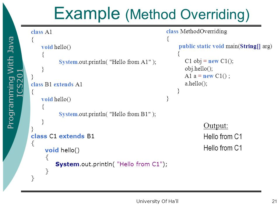 Programming With Java ICS201 University Of Ha'il21 Example (Method Overriding) class A1 { void hello() { System.out.println(
