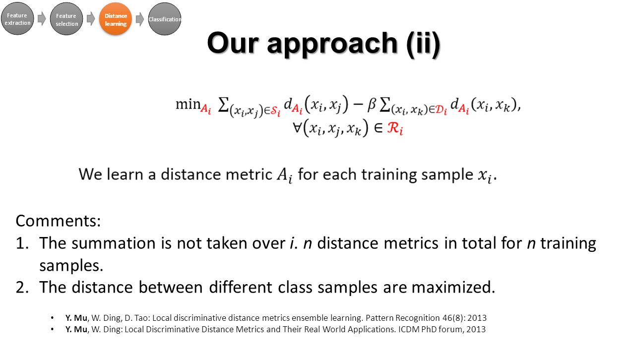 Comments: 1.The summation is not taken over i. n distance metrics in total for n training samples.