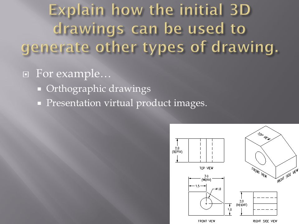  For example…  Orthographic drawings  Presentation virtual product images.
