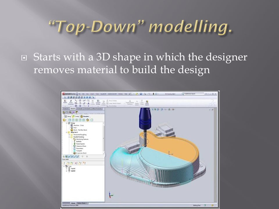  Starts with a 3D shape in which the designer removes material to build the design