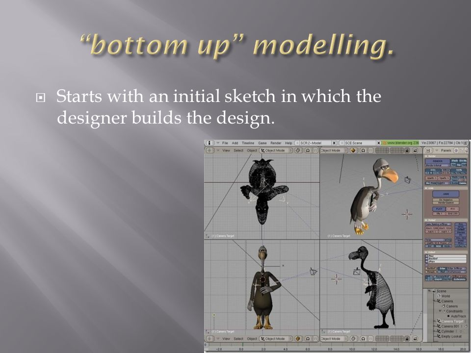  Starts with an initial sketch in which the designer builds the design.