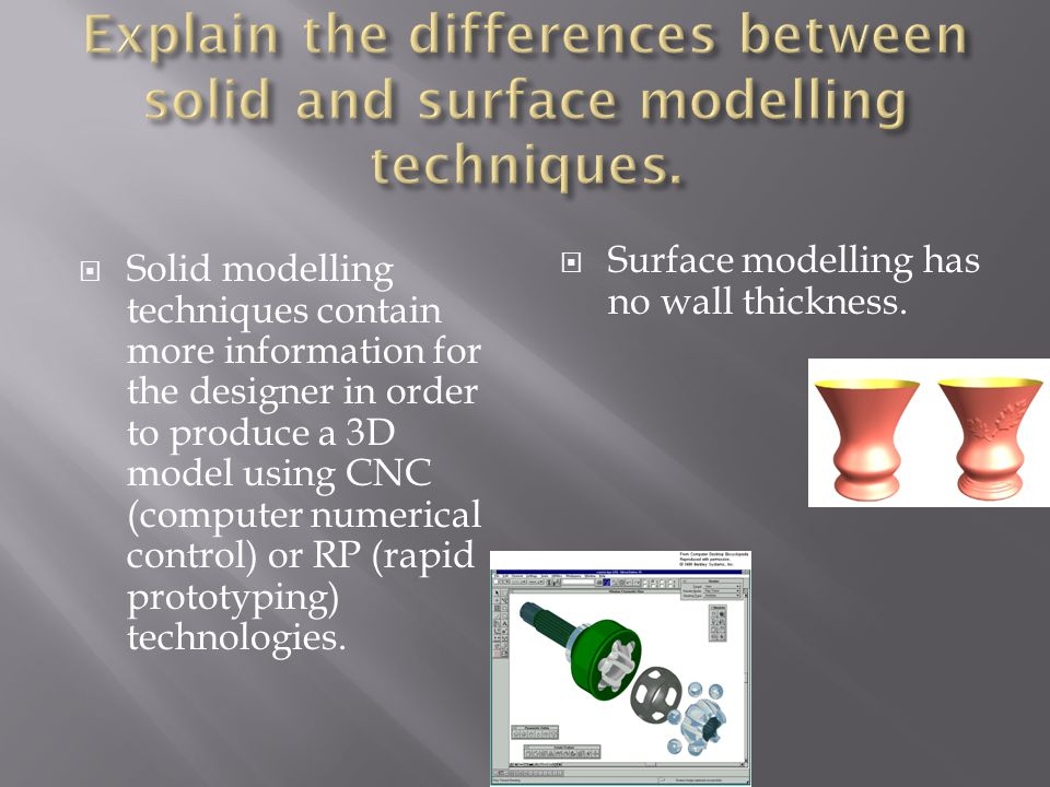  Solid modelling techniques contain more information for the designer in order to produce a 3D model using CNC (computer numerical control) or RP (rapid prototyping) technologies.