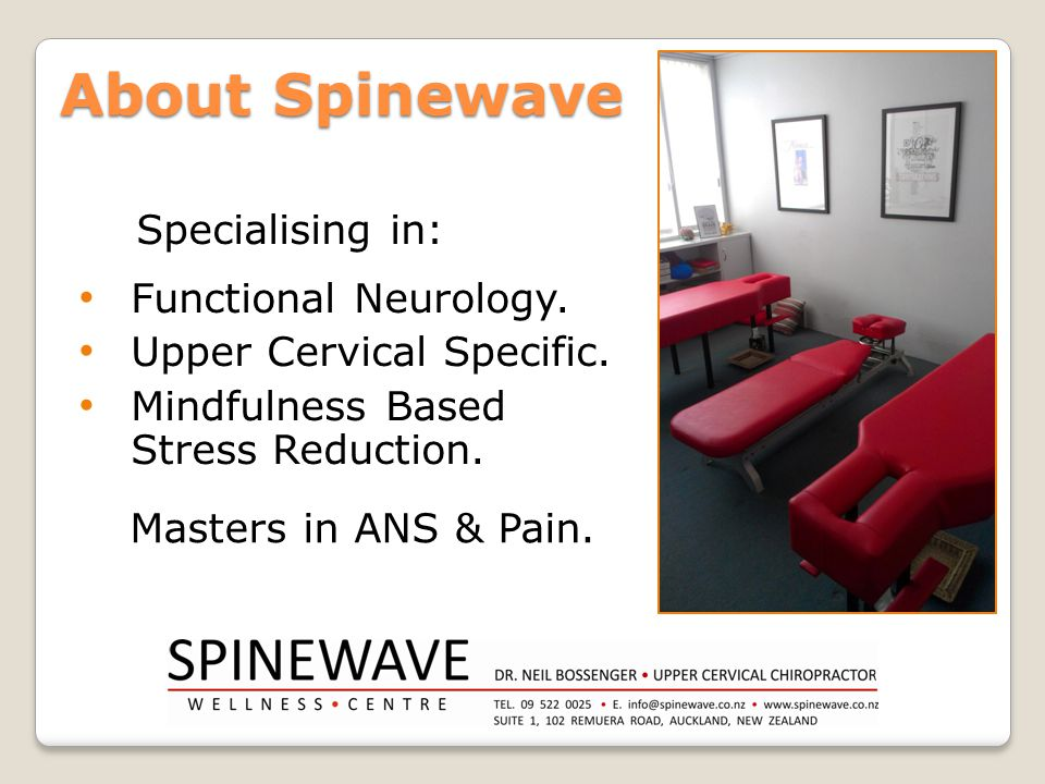 Specialising in: Functional Neurology. Upper Cervical Specific. Mindfulness Based Stress Reduction. About Spinewave Masters in ANS & Pain.