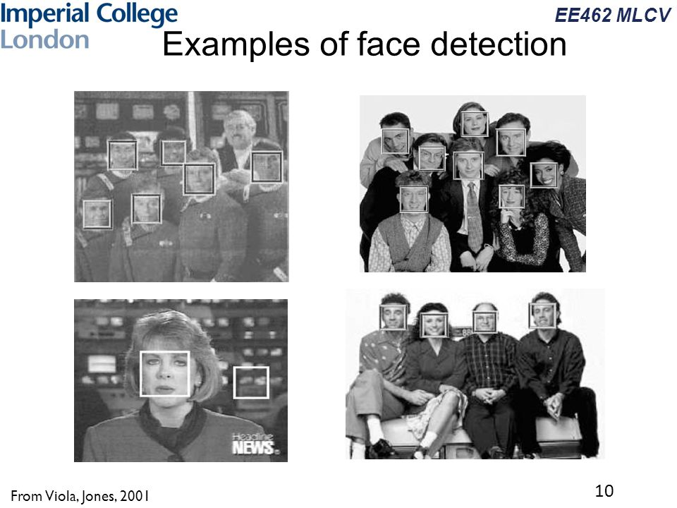 EE462 MLCV Examples of face detection 10 From Viola, Jones, 2001