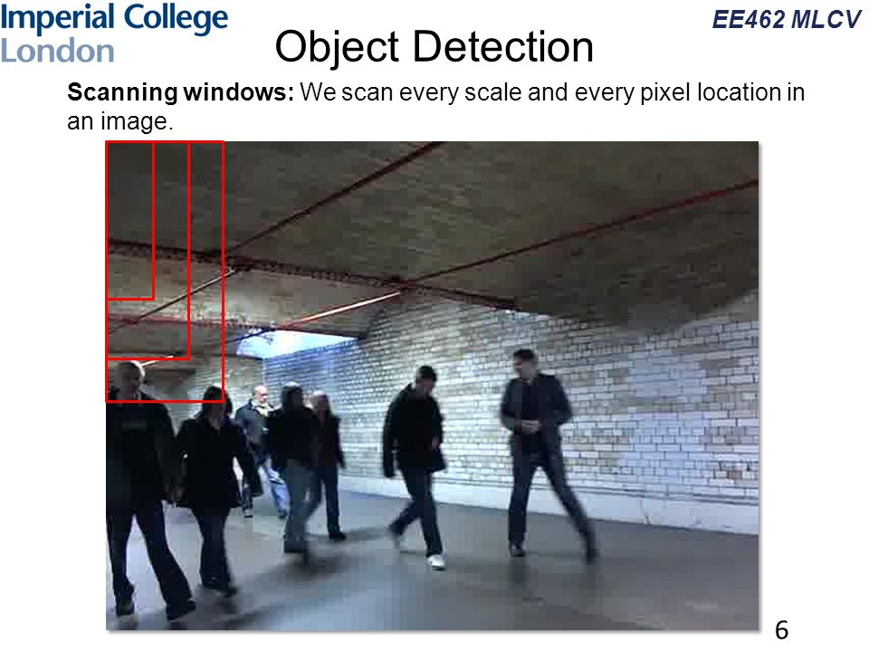 EE462 MLCV 6 Object Detection Scanning windows: We scan every scale and every pixel location in an image.