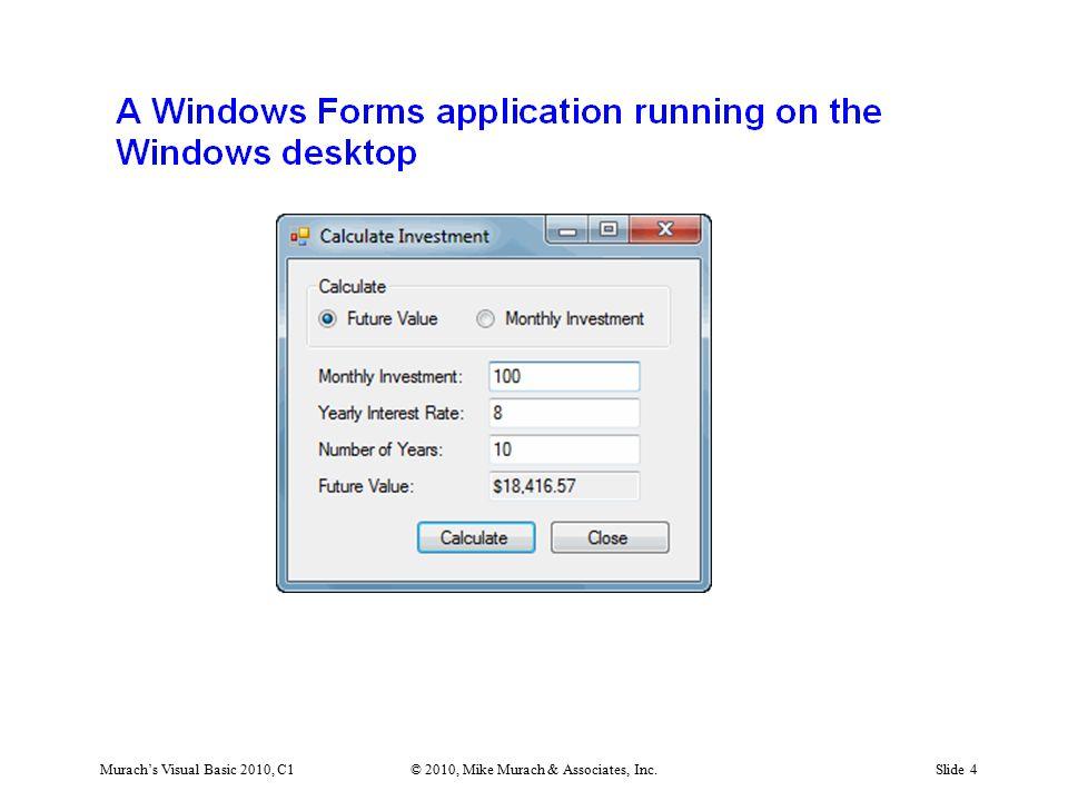 Murach's Visual Basic 2010, C1© 2010, Mike Murach & Associates, Inc.Slide 15
