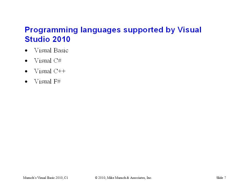Murach's Visual Basic 2010, C1© 2010, Mike Murach & Associates, Inc.Slide 18