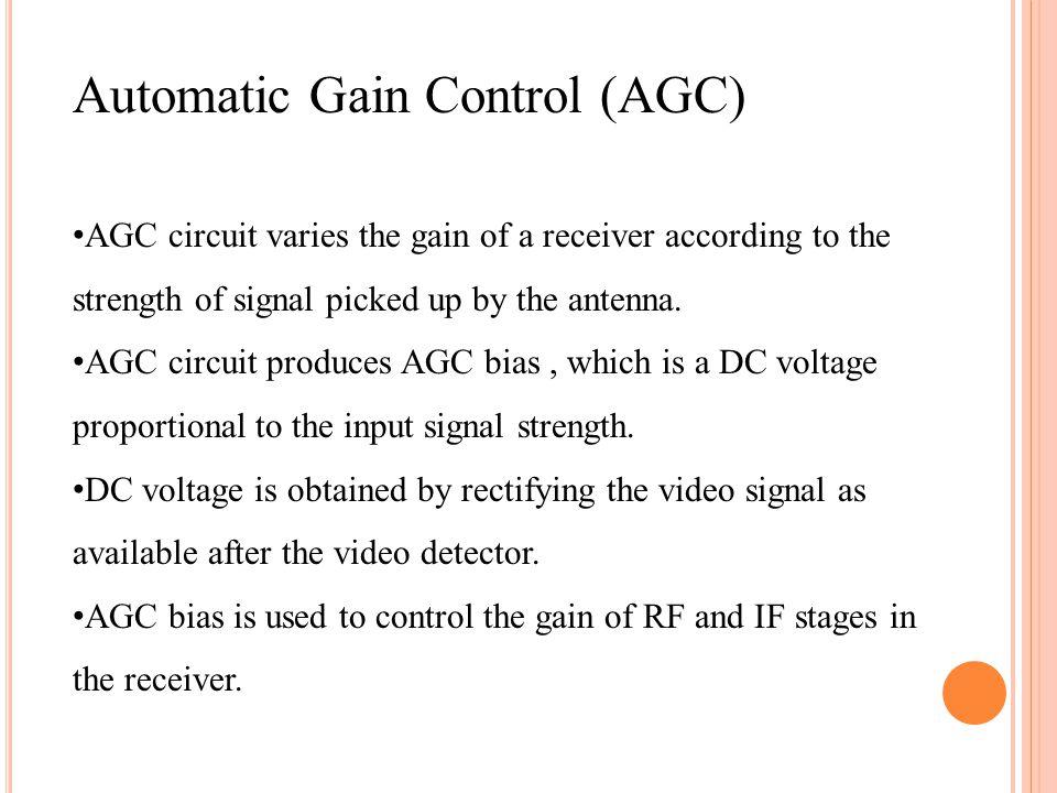 Basic AGC circuit 1.Unidirectional voltage is developed across RL.