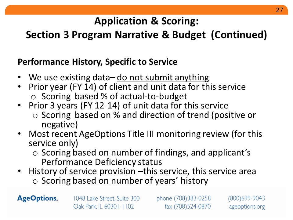 Performance History, Specific to Service We use existing data– do not submit anything Prior year (FY 14) of client and unit data for this service o Sc