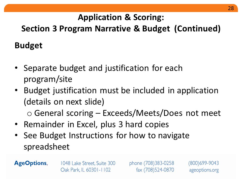 Budget Separate budget and justification for each program/site Budget justification must be included in application (details on next slide) o General scoring – Exceeds/Meets/Does not meet Remainder in Excel, plus 3 hard copies See Budget Instructions for how to navigate spreadsheet Application & Scoring: Section 3 Program Narrative & Budget (Continued) 28