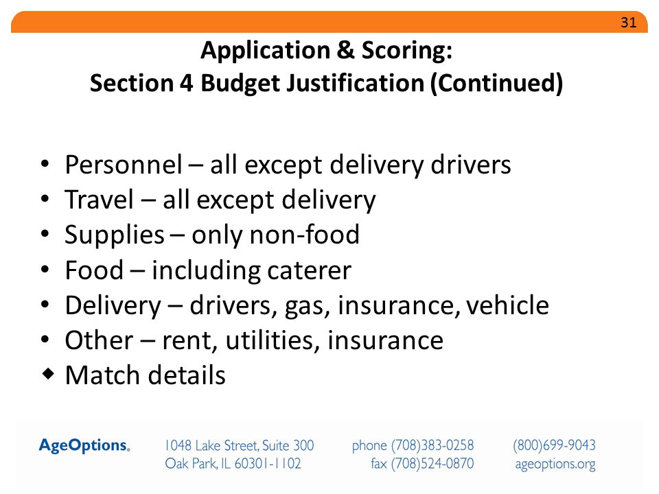 Personnel – all except delivery drivers Travel – all except delivery Supplies – only non-food Food – including caterer Delivery – drivers, gas, insurance, vehicle Other – rent, utilities, insurance  Match details Application & Scoring: Section 4 Budget Justification (Continued) 31