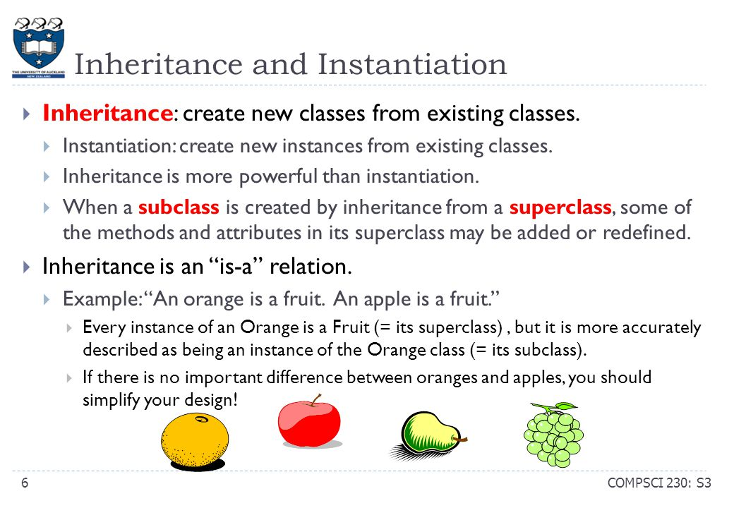 Inheritance and Instantiation COMPSCI 230: S36  Inheritance: create new classes from existing classes.  Instantiation: create new instances from exi