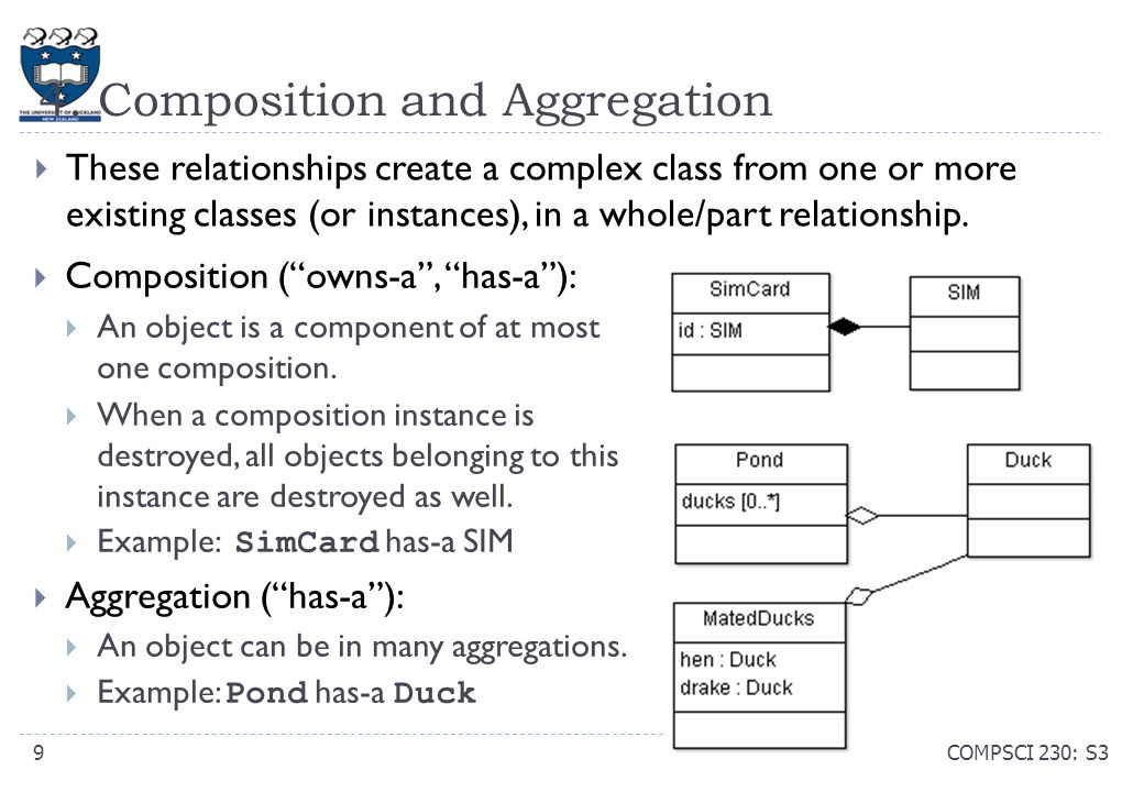 "4. Composition and Aggregation  Composition (""owns-a"", ""has-a""):  An object is a component of at most one composition.  When a composition instance"