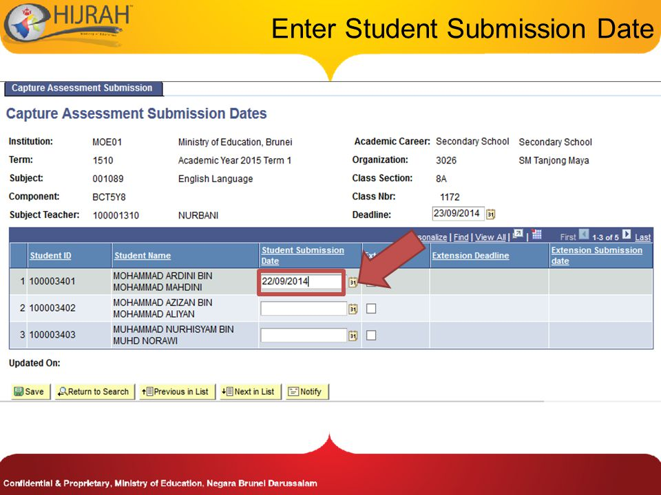 Enter Student Submission Date