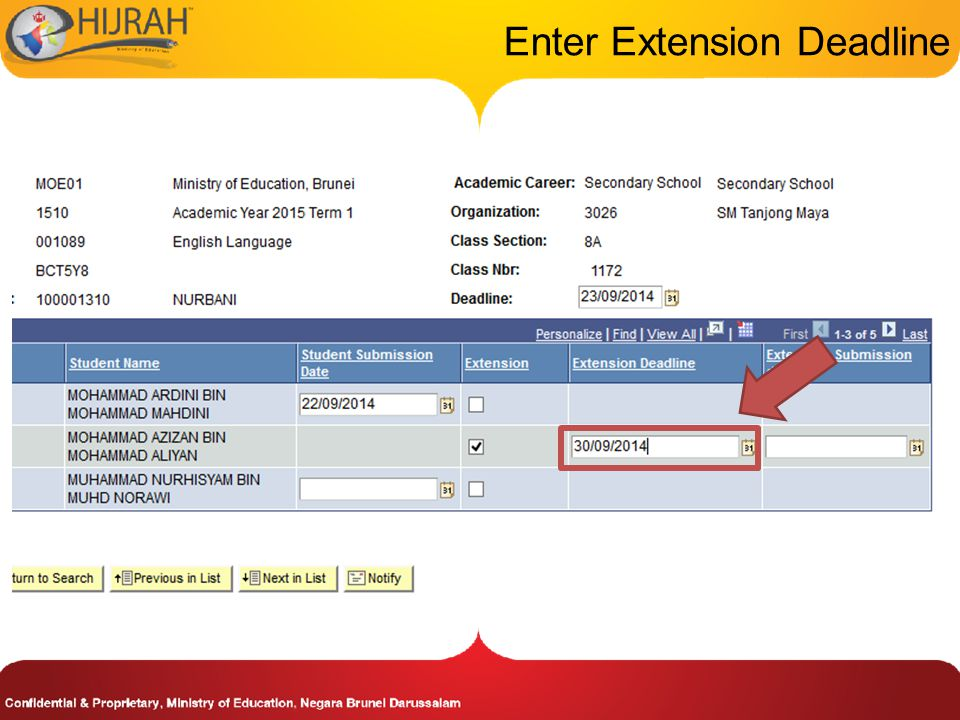 Enter Extension Deadline