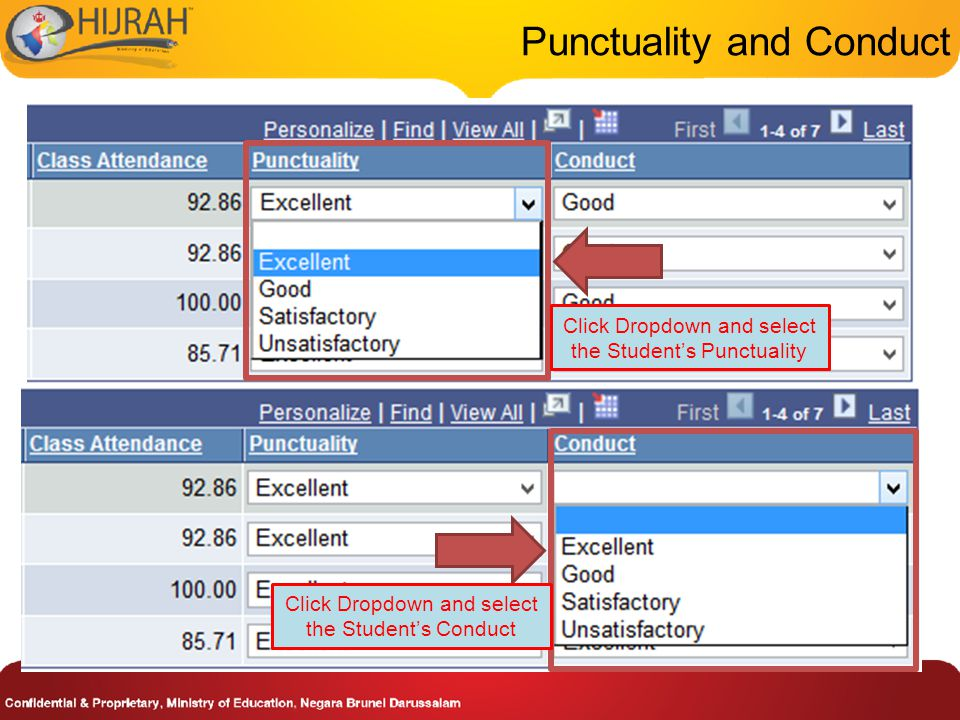 Punctuality and Conduct Click Dropdown and select the Student's Punctuality Click Dropdown and select the Student's Conduct