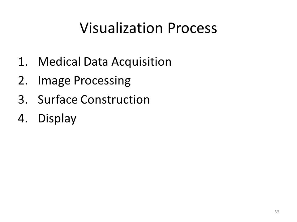 Visualization Process 1.Medical Data Acquisition 2.Image Processing 3.Surface Construction 4.Display 33