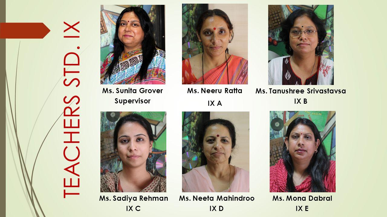 Ms. Neeru Ratta IX A Ms. Tanushree Srivastavsa IX B Ms. Sadiya Rehman IX C Ms. Neeta Mahindroo IX D Ms. Sunita Grover Supervisor Ms. Mona Dabral IX E