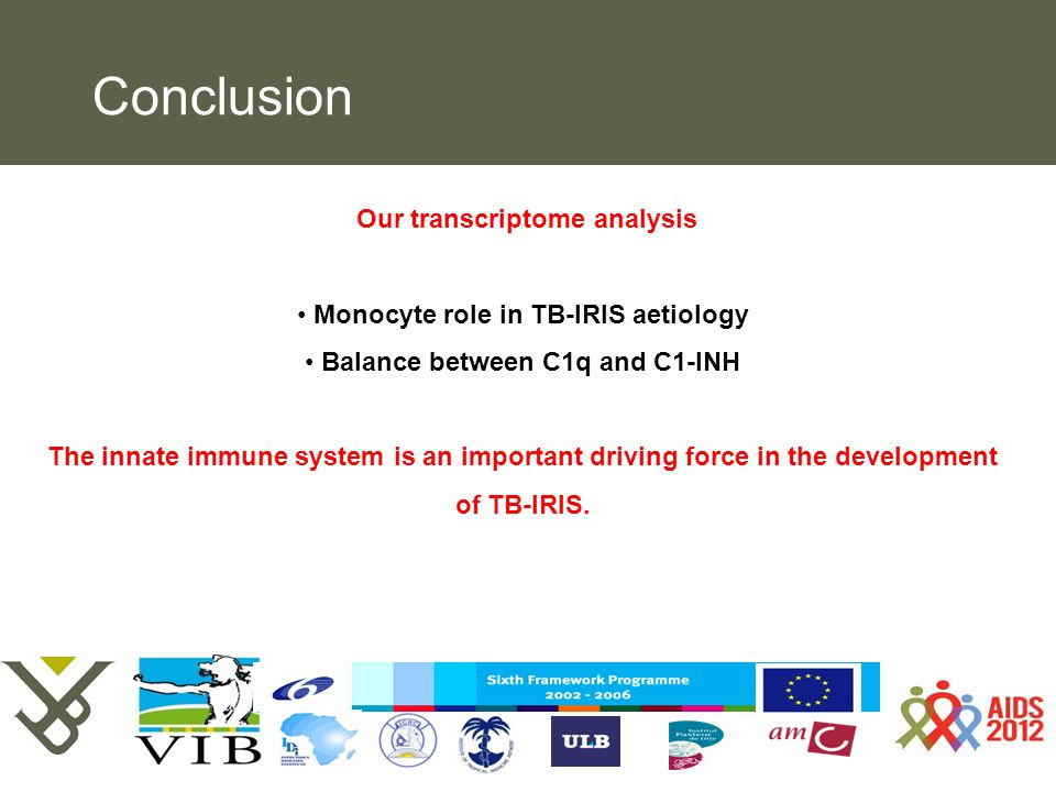 Pag. Hypothesis The development of TB-IRIS may depend on the relative balance between C1q and C1-INH BASELINE WEEK 2 Our transcriptome analysis Monocy