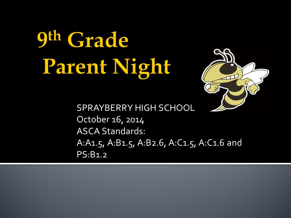 SPRAYBERRY HIGH SCHOOL October 16, 2014 ASCA Standards: A:A1.5, A:B1.5, A:B2.6, A:C1.5, A:C1.6 and PS:B1.2