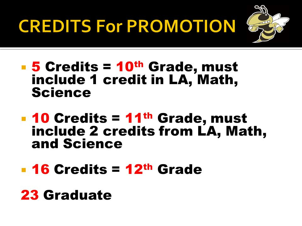  5 Credits = 10 th Grade, must include 1 credit in LA, Math, Science  10 Credits = 11 th Grade, must include 2 credits from LA, Math, and Science 