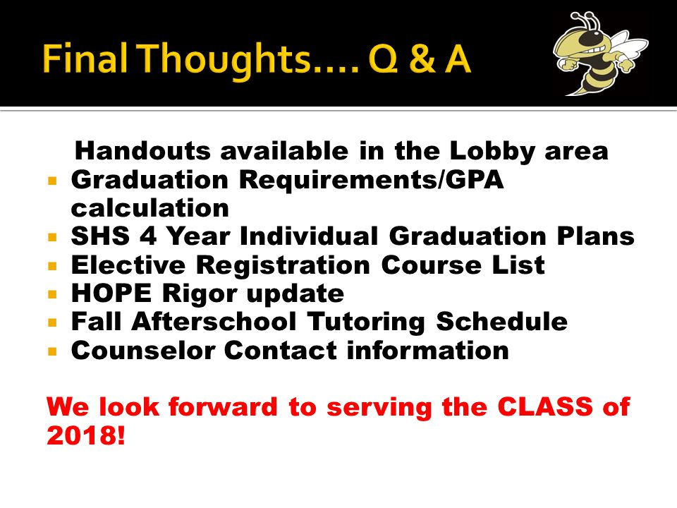 Handouts available in the Lobby area  Graduation Requirements/GPA calculation  SHS 4 Year Individual Graduation Plans  Elective Registration Course