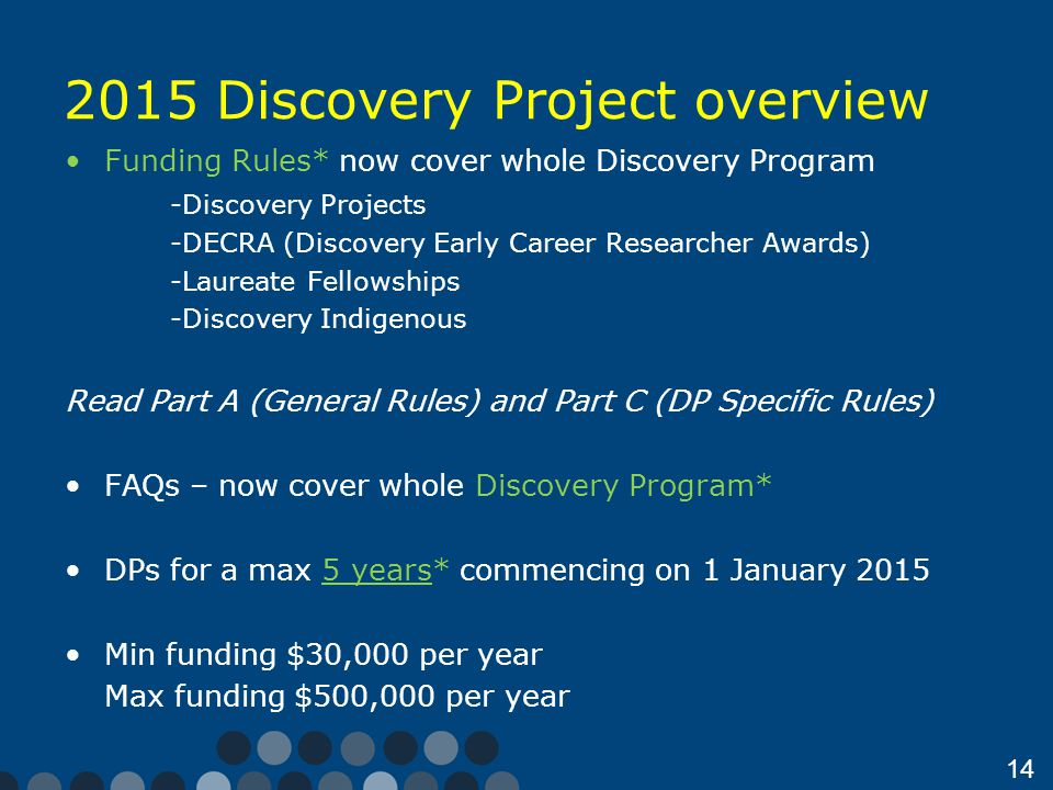 14 2015 Discovery Project overview Funding Rules* now cover whole Discovery Program -Discovery Projects -DECRA (Discovery Early Career Researcher Awards) -Laureate Fellowships -Discovery Indigenous Read Part A (General Rules) and Part C (DP Specific Rules) FAQs – now cover whole Discovery Program* DPs for a max 5 years* commencing on 1 January 2015 Min funding $30,000 per year Max funding $500,000 per year