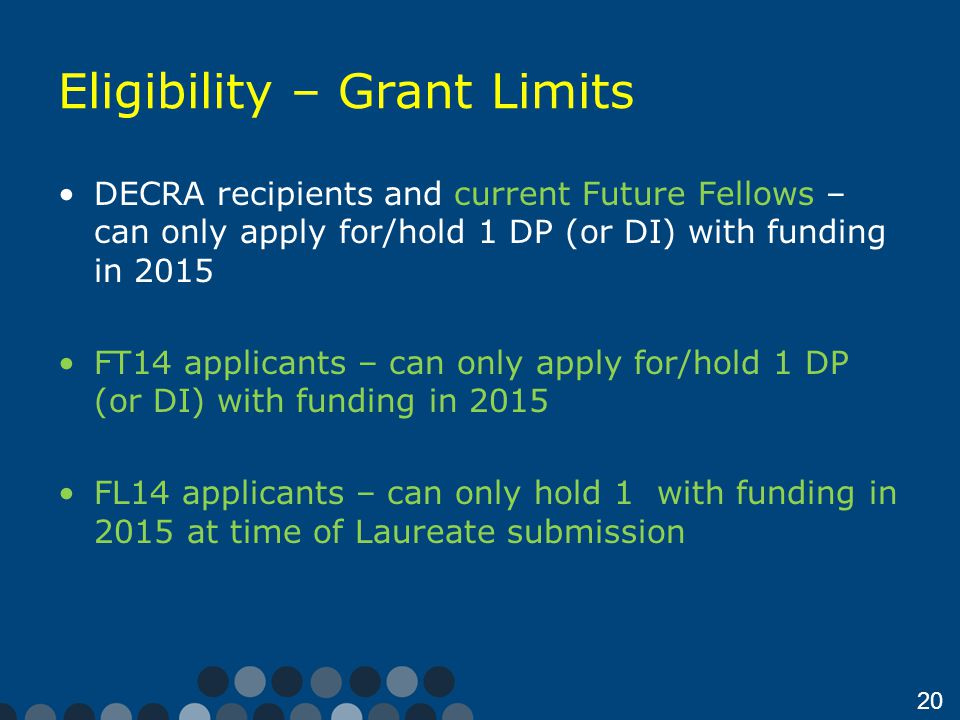 20 Eligibility – Grant Limits DECRA recipients and current Future Fellows – can only apply for/hold 1 DP (or DI) with funding in 2015 FT14 applicants – can only apply for/hold 1 DP (or DI) with funding in 2015 FL14 applicants – can only hold 1 with funding in 2015 at time of Laureate submission