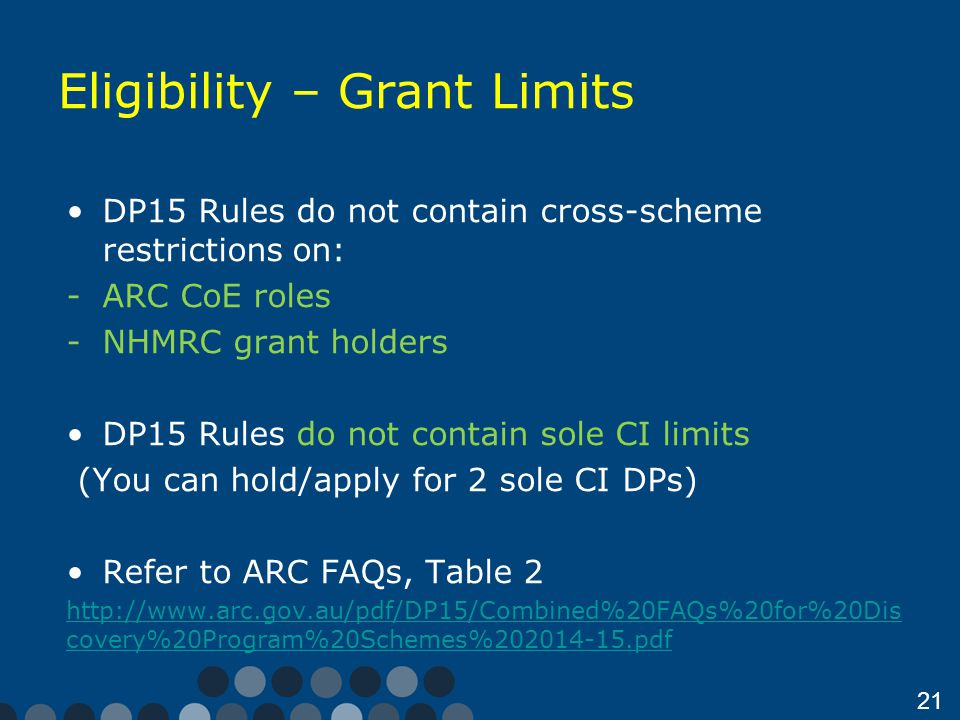 21 Eligibility – Grant Limits DP15 Rules do not contain cross-scheme restrictions on: -ARC CoE roles -NHMRC grant holders DP15 Rules do not contain sole CI limits (You can hold/apply for 2 sole CI DPs) Refer to ARC FAQs, Table 2 http://www.arc.gov.au/pdf/DP15/Combined%20FAQs%20for%20Dis covery%20Program%20Schemes%202014-15.pdf