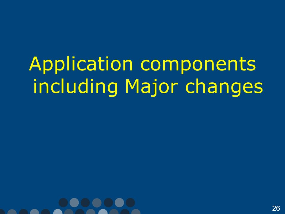 26 Application components including Major changes
