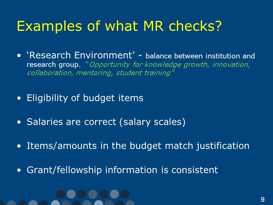 9 Examples of what MR checks.