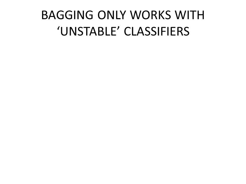 BAGGING ONLY WORKS WITH 'UNSTABLE' CLASSIFIERS
