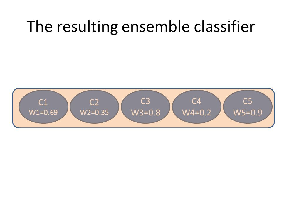 The resulting ensemble classifier C1 W1=0.69 C2 W2=0.35 C3 W3=0.8 C4 W4=0.2 C5 W5=0.9
