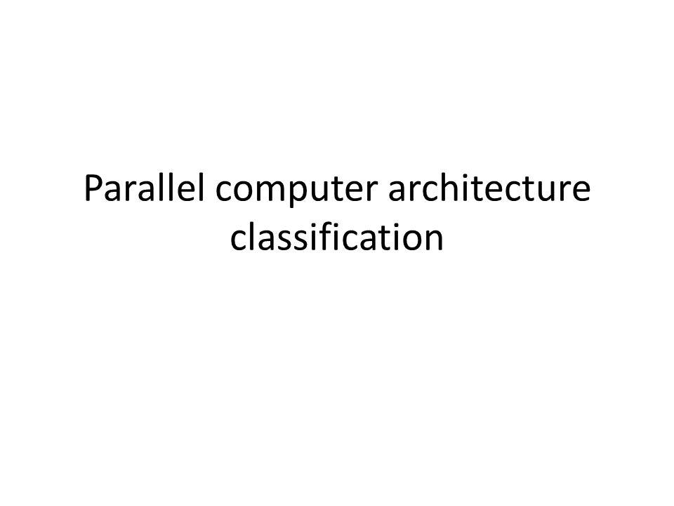Summary Flynn's classification – SISD, SIMD, MIMD, MISD Modern classification – Data parallelism – function parallelism Instruction level, thread level, and process level Performance – MIPS, MFLOPS – Peak performance and sustained performance